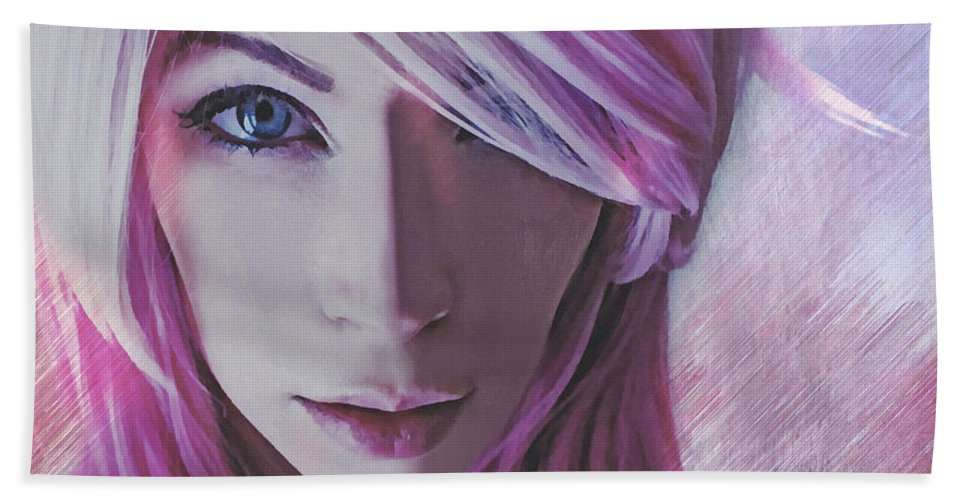 Pink Bath Sheet featuring the digital art Caroline Laughs by Galen Valle