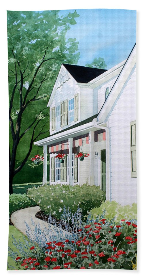 House Bath Sheet featuring the painting Carols Place by Jim Gerkin
