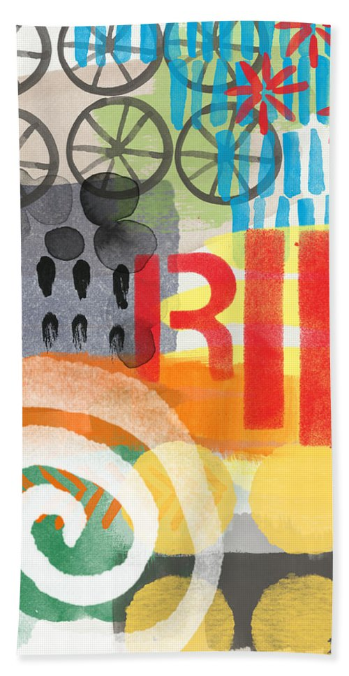 Bike Hand Towel featuring the painting Carousel #6 Ride- Contemporary Abstract Art by Linda Woods