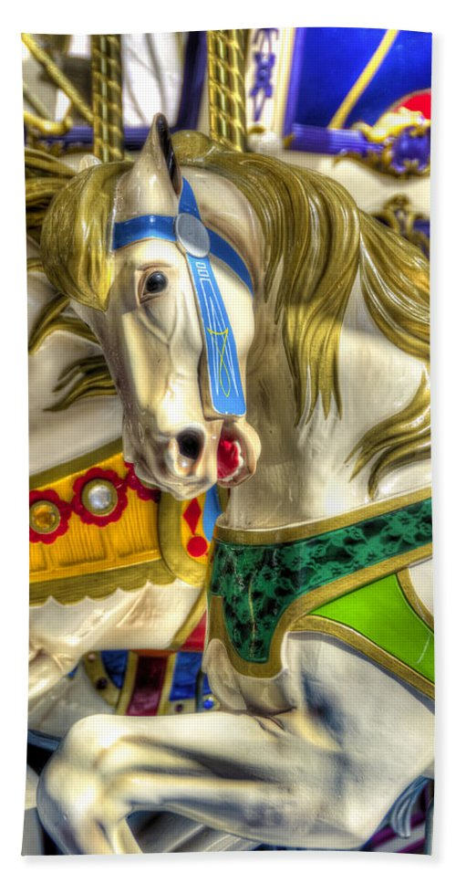 Carousel Hand Towel featuring the photograph Carousel Charger by Wayne Sherriff