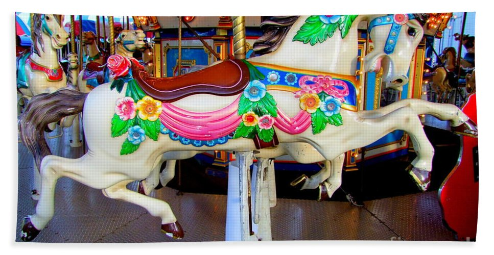 Carousel Horse Bath Sheet featuring the photograph Carousel Horse With Flower Drape by Mary Deal