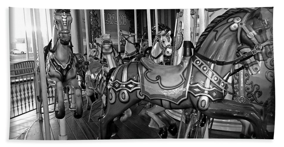 Carousel Hand Towel featuring the photograph Carousel Horses In Black And White by Alice Gipson