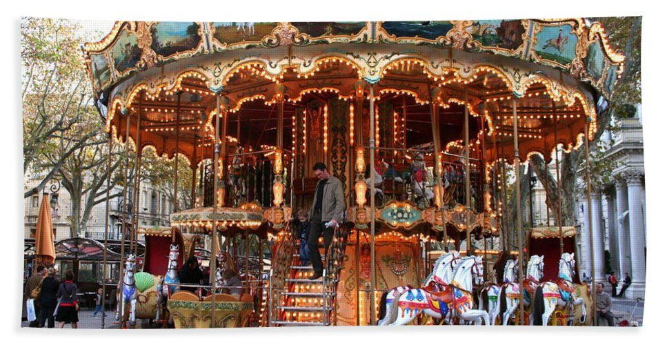 Carousel Bath Sheet featuring the photograph Carousel In Avignon by Laurel Talabere