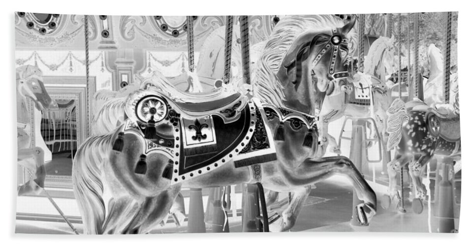 Carousel Bath Towel featuring the photograph Carousel In Negative 3 by Rob Hans