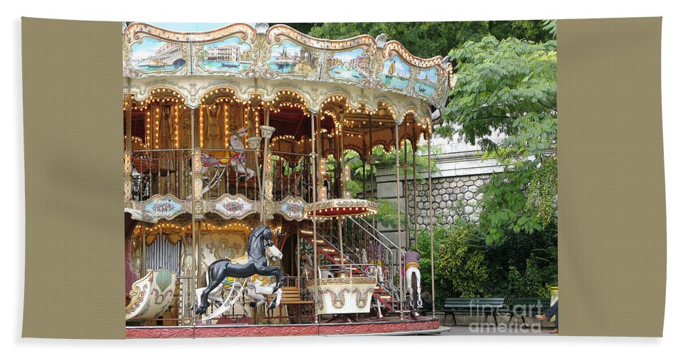 Paris Bath Sheet featuring the photograph Carousel In Paris by Ann Horn