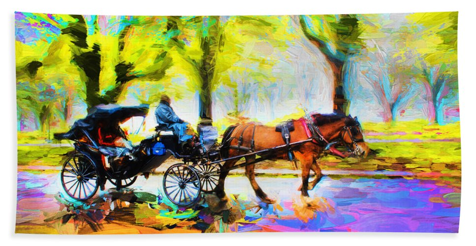 Carriage Hand Towel featuring the photograph Carriage Rides Series 02 by Carlos Diaz