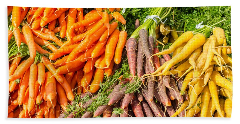 Agriculture Hand Towel featuring the photograph Carrots At The Market by John Trax