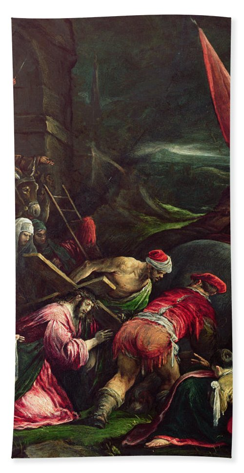 Son Of God Bath Towel featuring the painting Carrying The Cross, 1592 by Gerolamo Bassano