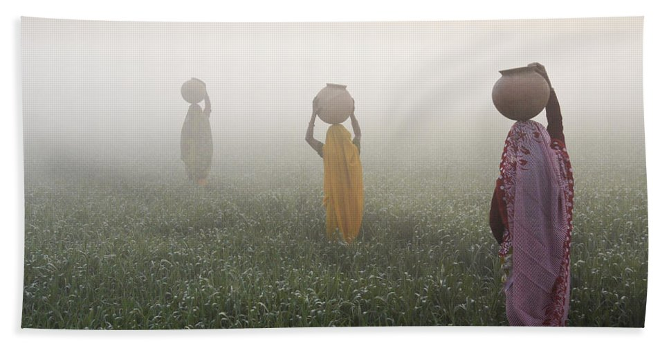 Asia Bath Towel featuring the photograph Carrying Water On A Foggy Morn In India by Michele Burgess