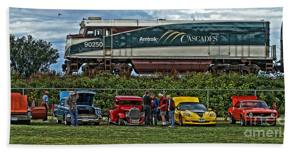 Cars Hand Towel featuring the photograph Cars And Trains by Randy Harris