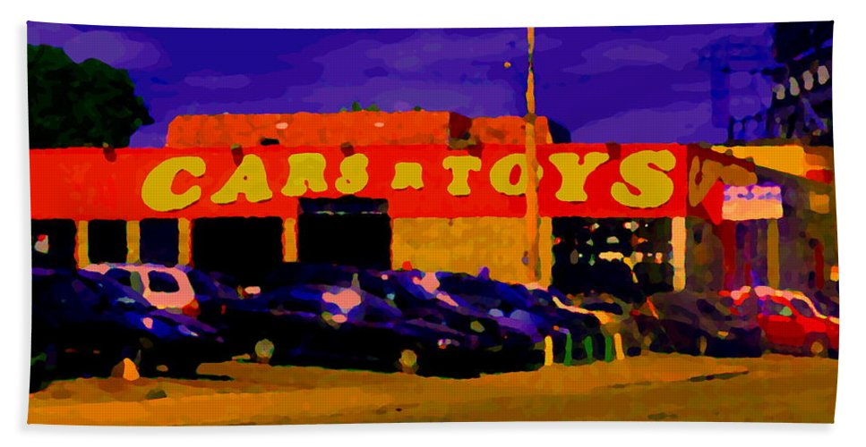 Cars R Toys Bath Sheet featuring the painting Cars R Toys Evening Rue St.jacques Used Cars Trucks Suvs Montreal Urban Scene Carole Spandau by Carole Spandau