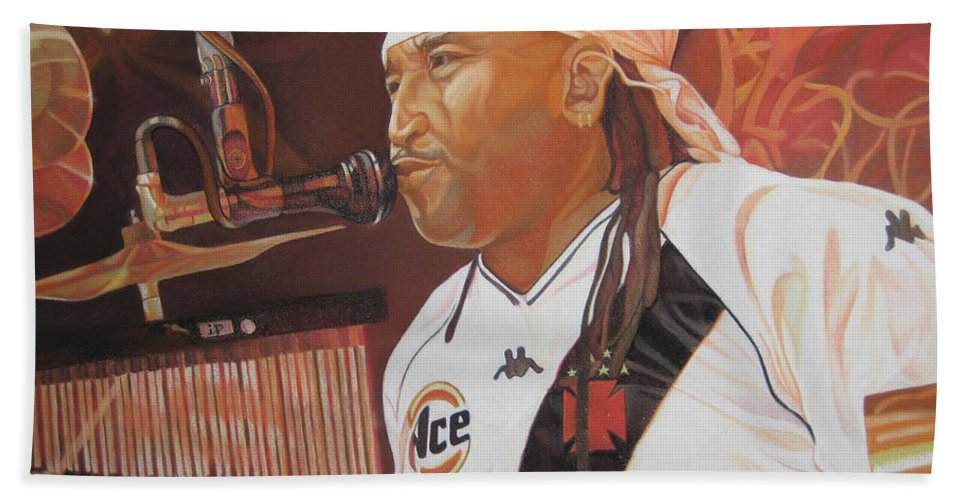 Carter Beauford Bath Towel featuring the drawing Carter Beauford At Red Rocks by Joshua Morton