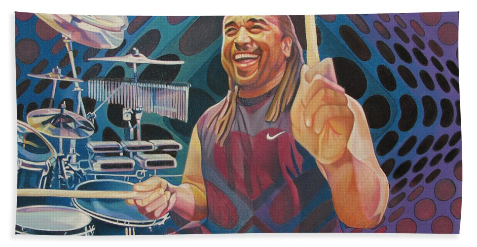 Carter Beauford Hand Towel featuring the drawing Carter Beauford-op Series by Joshua Morton