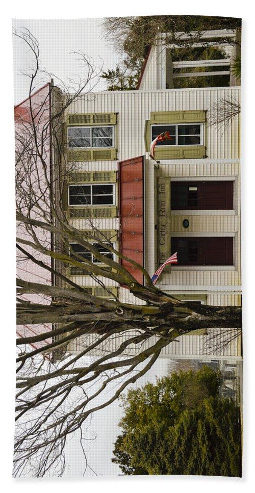 Bath Sheet featuring the mixed media Carter Run Inn 3 by Trish Tritz