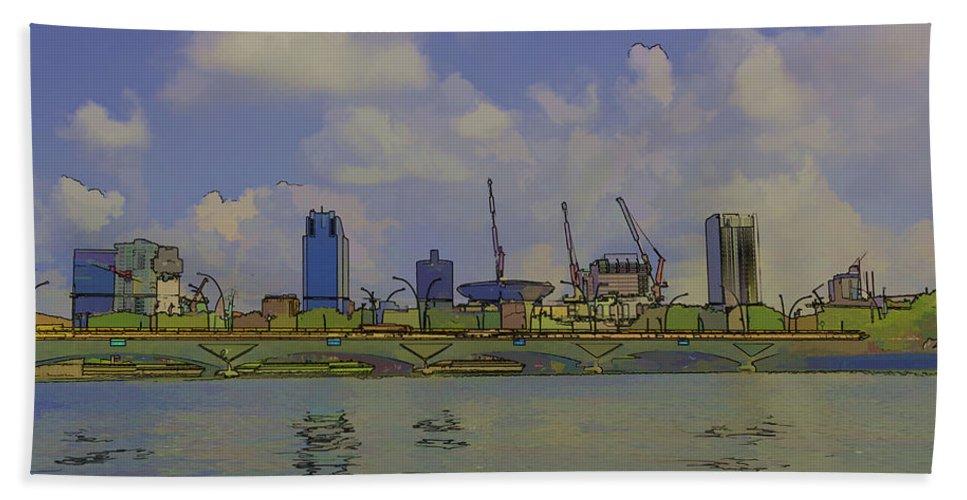 Action Bath Sheet featuring the digital art Cartoon - Buildings And Bridge On The Marina Reservoir by Ashish Agarwal