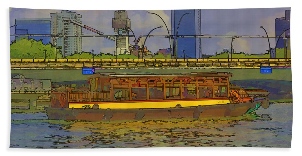 Action Bath Sheet featuring the digital art Cartoon - Colorful River Cruise Boat In Singapore Next To A Bridge by Ashish Agarwal