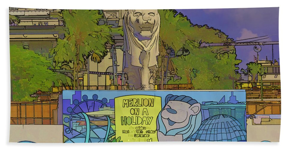 Action Bath Sheet featuring the digital art Cartoon - Statue Of The Merlion With A Banner Below The Statue by Ashish Agarwal