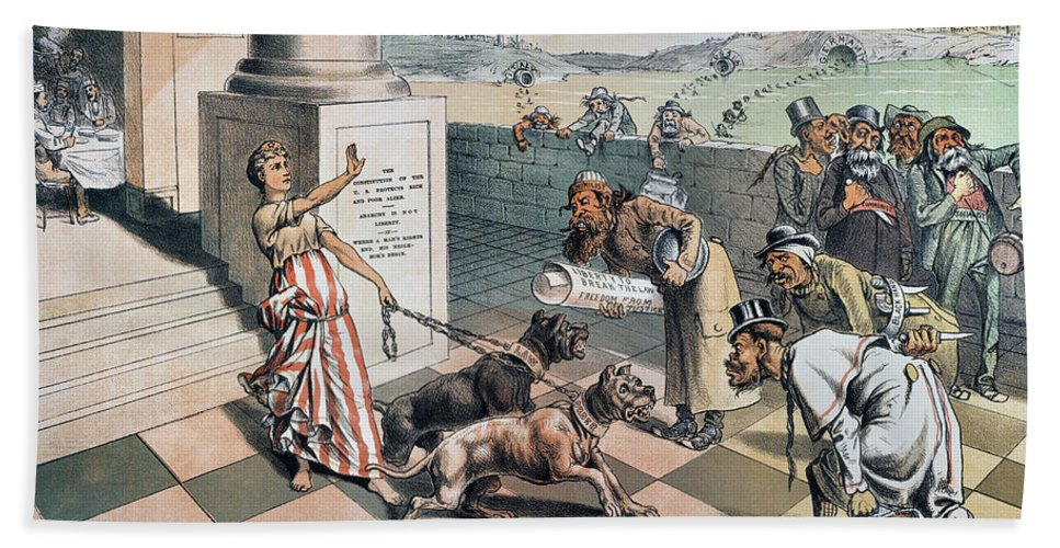 1885 Hand Towel featuring the painting Cartoon Immigration, 1885 by Granger