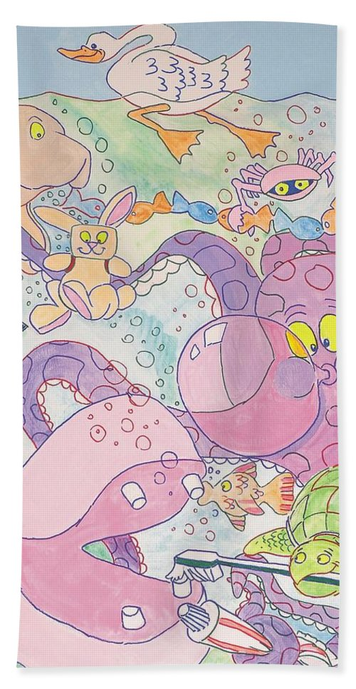 Swan Hand Towel featuring the painting Cartoon Sea Creatures by Mike Jory