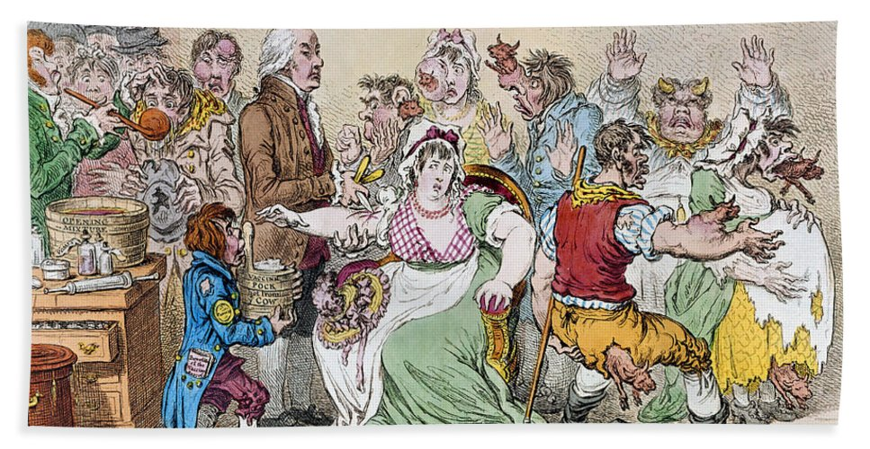 1802 Hand Towel featuring the photograph Cartoon: Vaccination, 1802 by Granger