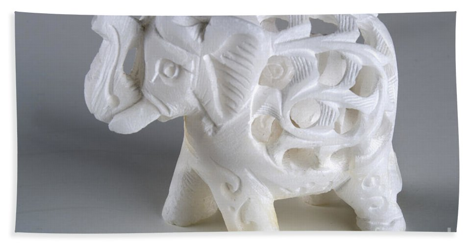 Abstract Bath Sheet featuring the photograph Carved Elephant by Alan Look