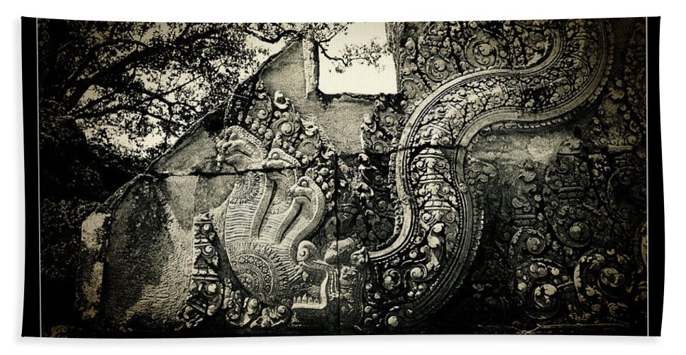 Naga Hand Towel featuring the photograph Carved Naga At Banteay Srey by Weston Westmoreland