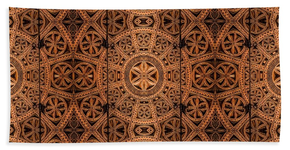 Cabinet Hand Towel featuring the photograph Carved Wooden Cabinet Symmetry by Hakon Soreide
