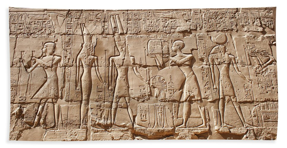 Ancient Hand Towel featuring the photograph Carvings At The Temple Of Karnak by Sophie McAulay