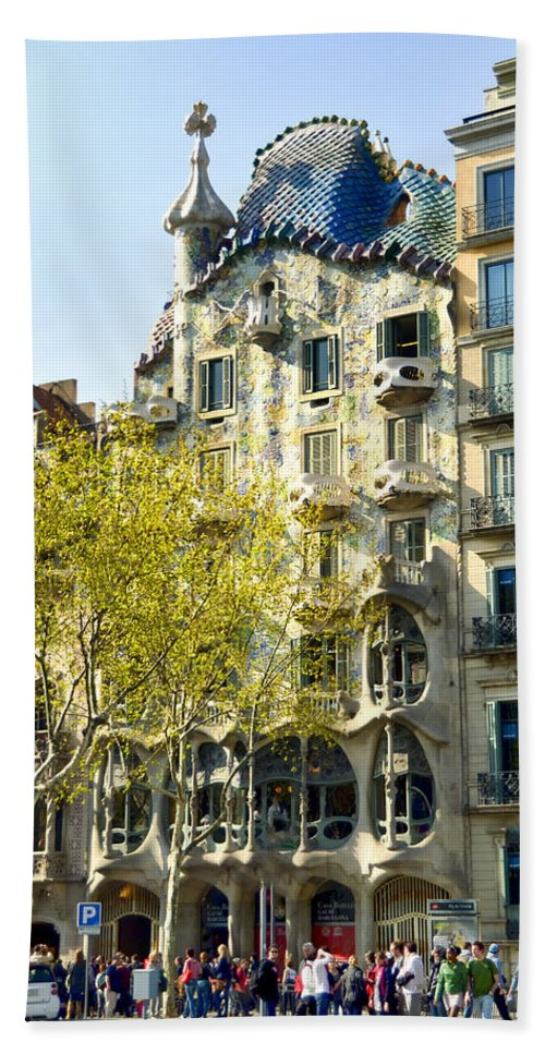 Casa Batllo Bath Sheet featuring the photograph Casa Batllo - Barcelona Spain by Jon Berghoff