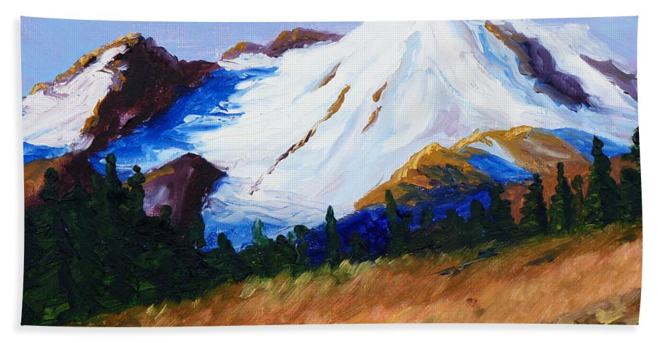 Mountain Hand Towel featuring the painting Cascade by Nancy Merkle