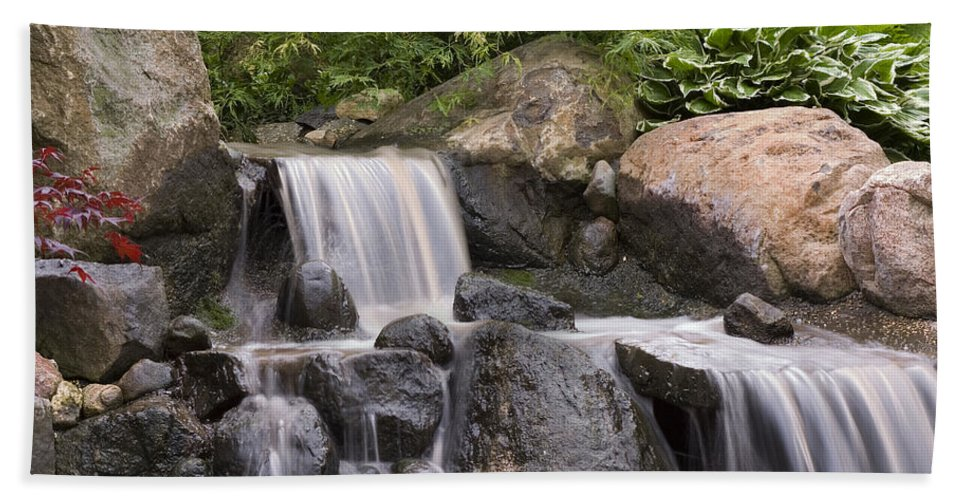 3scape Hand Towel featuring the photograph Cascade Waterfall by Adam Romanowicz