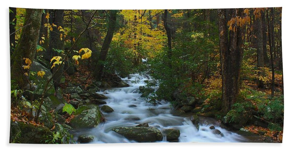 Smoky Mountains Bath Sheet featuring the photograph Cascades On The Motor Nature Trail by Nunweiler Photography