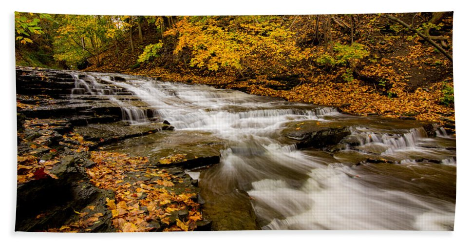 Cascadilla Bath Sheet featuring the photograph Cascadilla Gorge Trail by Brad Marzolf Photography