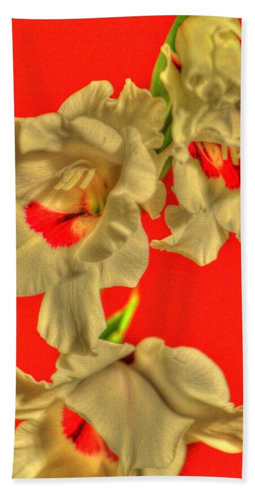 Flower Hand Towel featuring the photograph Cascading Gladiolas by Deborah Crew-Johnson