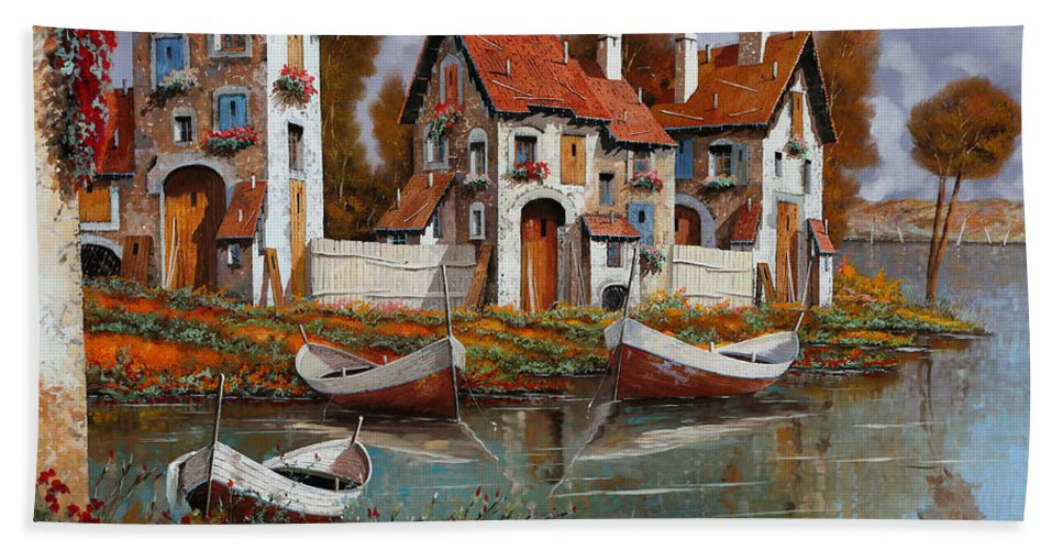Village Bath Towel featuring the painting Case A Cerchio by Guido Borelli