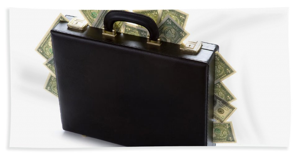 Money Hand Towel featuring the photograph Case Full Of Money by Lee Avison