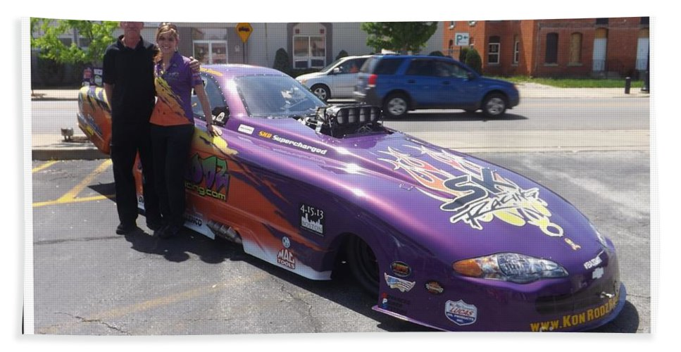 Funny Car Bath Sheet featuring the photograph Cassie Simonton With Her Alcohol Funny Car by Sara Raber
