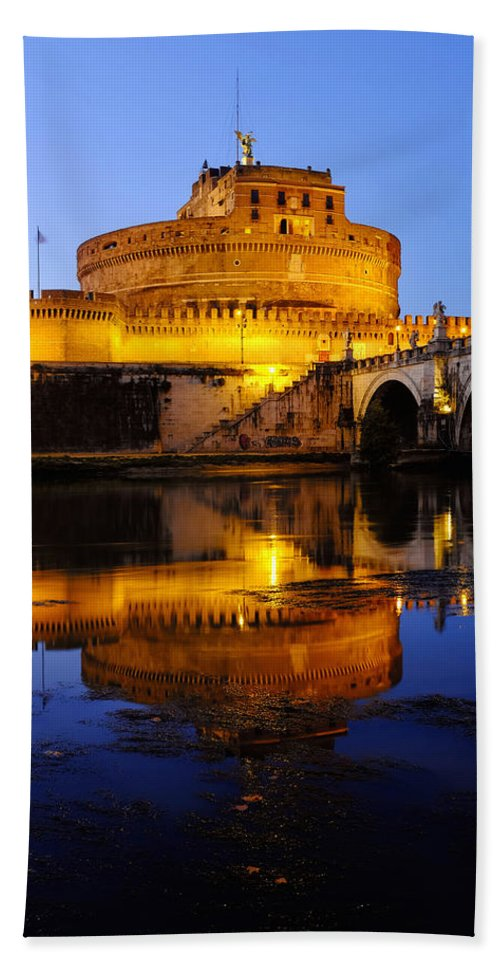 Castel Hand Towel featuring the photograph Castel Sant'angelo And The Tiber River by Fabrizio Troiani