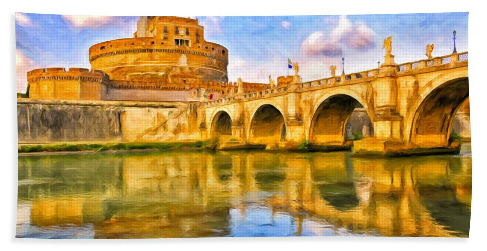 Castel Sant'angelo Hand Towel featuring the painting Castel Sant'angelo by Dominic Piperata