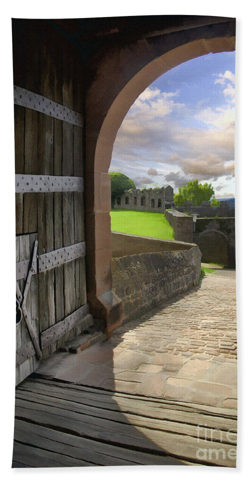Castle Hand Towel featuring the photograph Castle Door by Sharon Foster