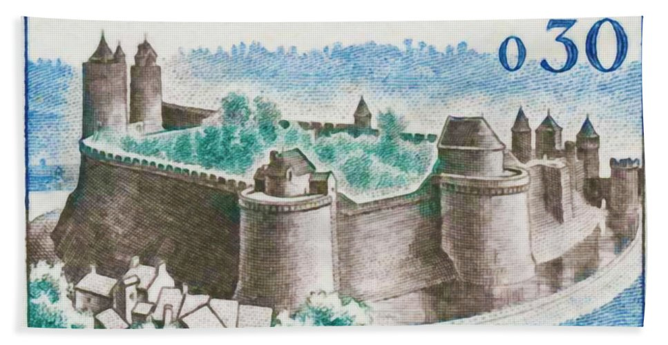 Heritage Bath Sheet featuring the painting Castle Fougeres by Jeelan Clark