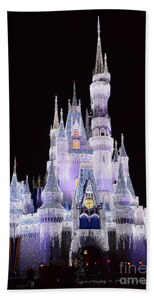 Castle Bath Sheet featuring the photograph Castle In Winter by Cindy Manero
