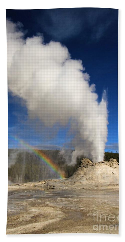 Castle Geyser Hand Towel featuring the photograph Castle Rainbow by Adam Jewell