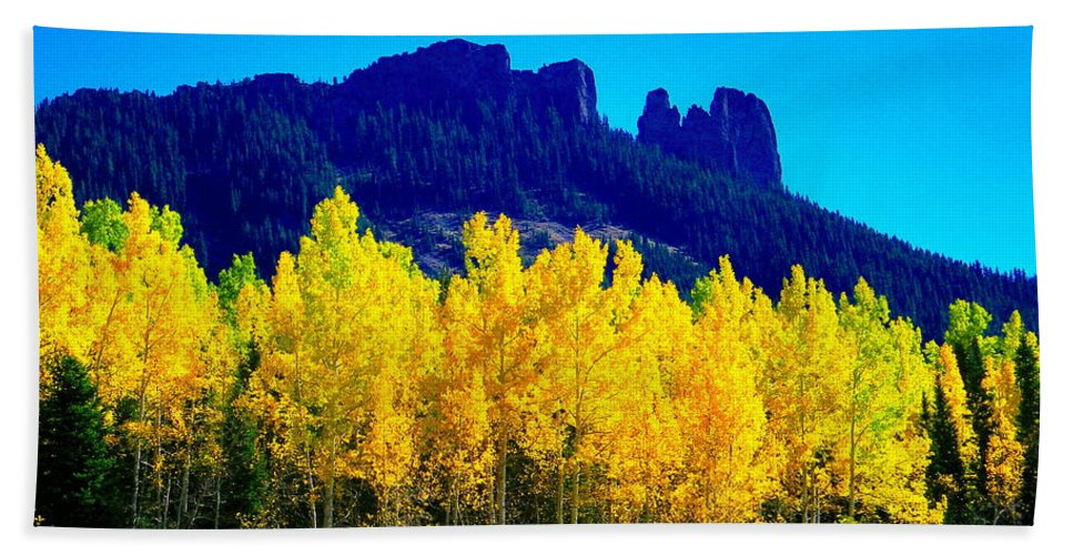 Scenery Bath Sheet featuring the photograph Autumn Castle Rock Aspens by Dale E Jackson