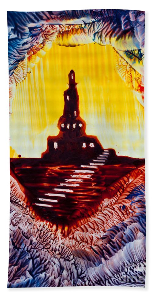 Castle Hand Towel featuring the painting Castle Rock Silhouette Painting In Wax by Simon Bratt Photography LRPS