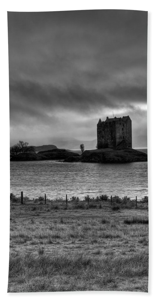 Appin Hand Towel featuring the photograph Castle Stalker Bw by Gary Eason