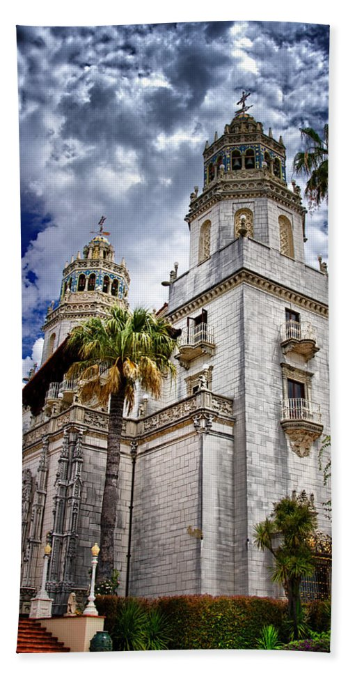 Hearst Castle Bath Sheet featuring the photograph Castle Towers by Jon Berghoff