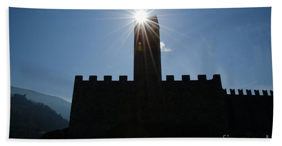 Castle Hand Towel featuring the photograph Castle With Sun by Mats Silvan