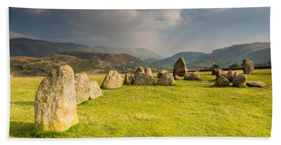 Ancient Bath Sheet featuring the photograph Castlerigg Circles Inner Chamber by David Head