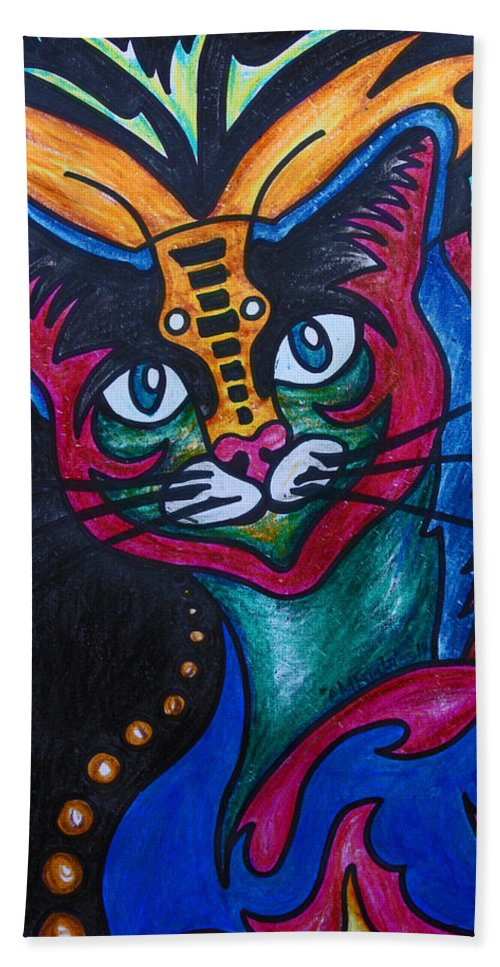 Cat Bath Sheet featuring the drawing Cat 2 by Carol Tsiatsios